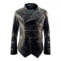 Mens Military Fitted Distressed Leather Jacket CFLMMJ-740