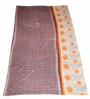 Vintage Kantha quilt Handmade Indian Reversible Quilt Pure Cotton Made Quilt / Blanket / Throw Bedspread ALIKQ1011