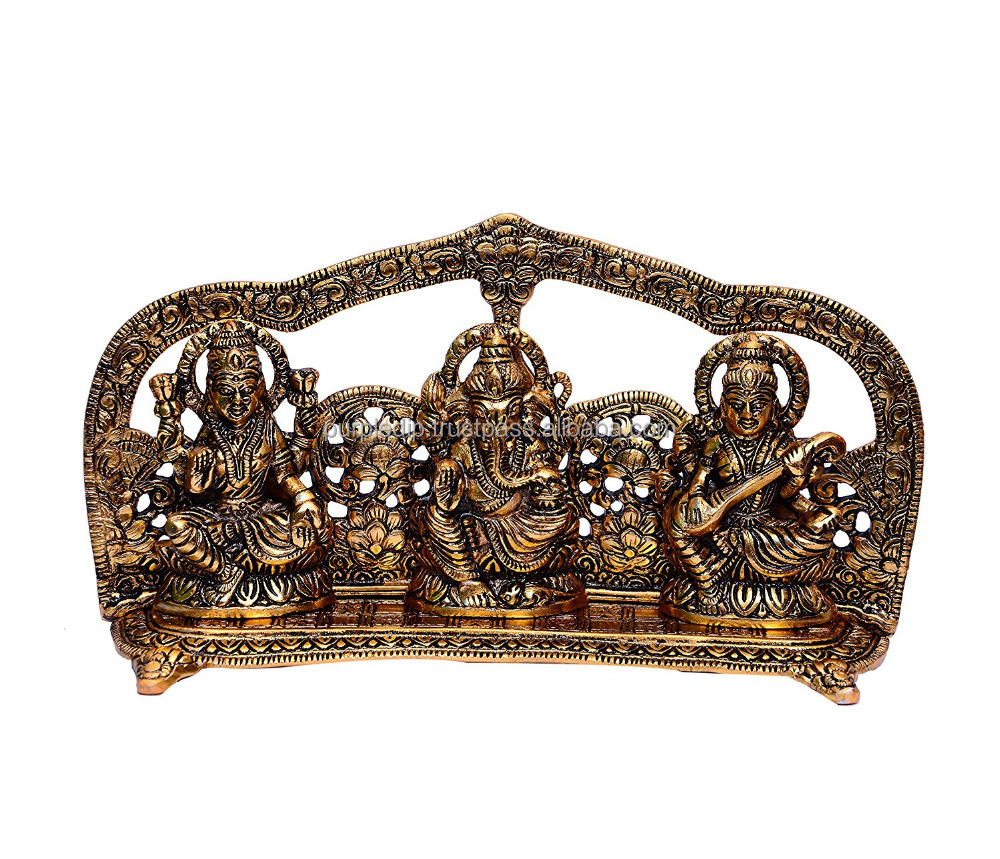 Hindu God Statue Set in White Metal: Trio Of Laxmi, Ganesha, and Saraswati in Gold Color For Home Temple, Office Mandir