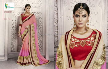 7ed290a9ce Embroided thread work gerogette sarees with heavy border - Wholesale sarees  online India - Surat sarees