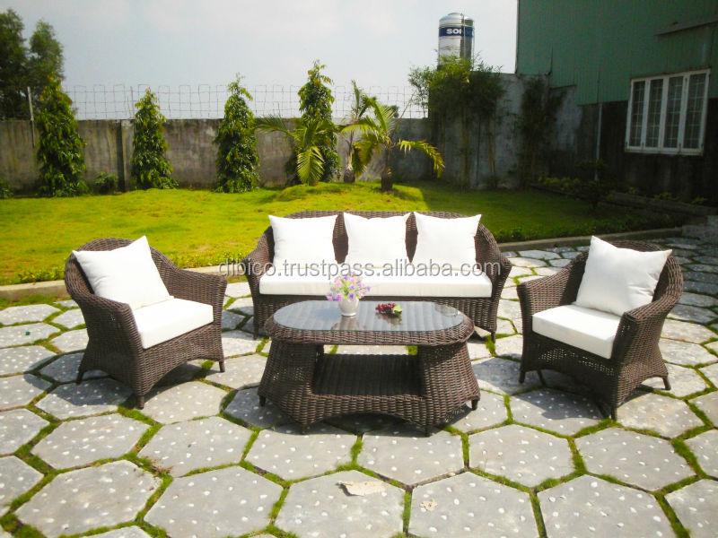 4 pcs de pl stico de jardim ao ar livre sof de vime for Sofa exterior jardim