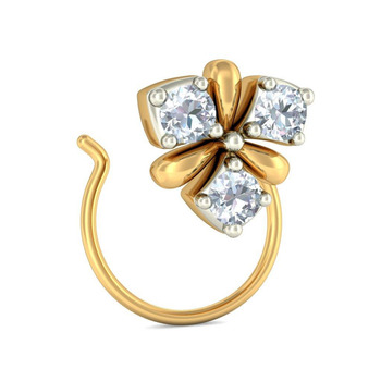 Three Stone Real Diamond Nose Stud In 14k Yellow Gold Buy