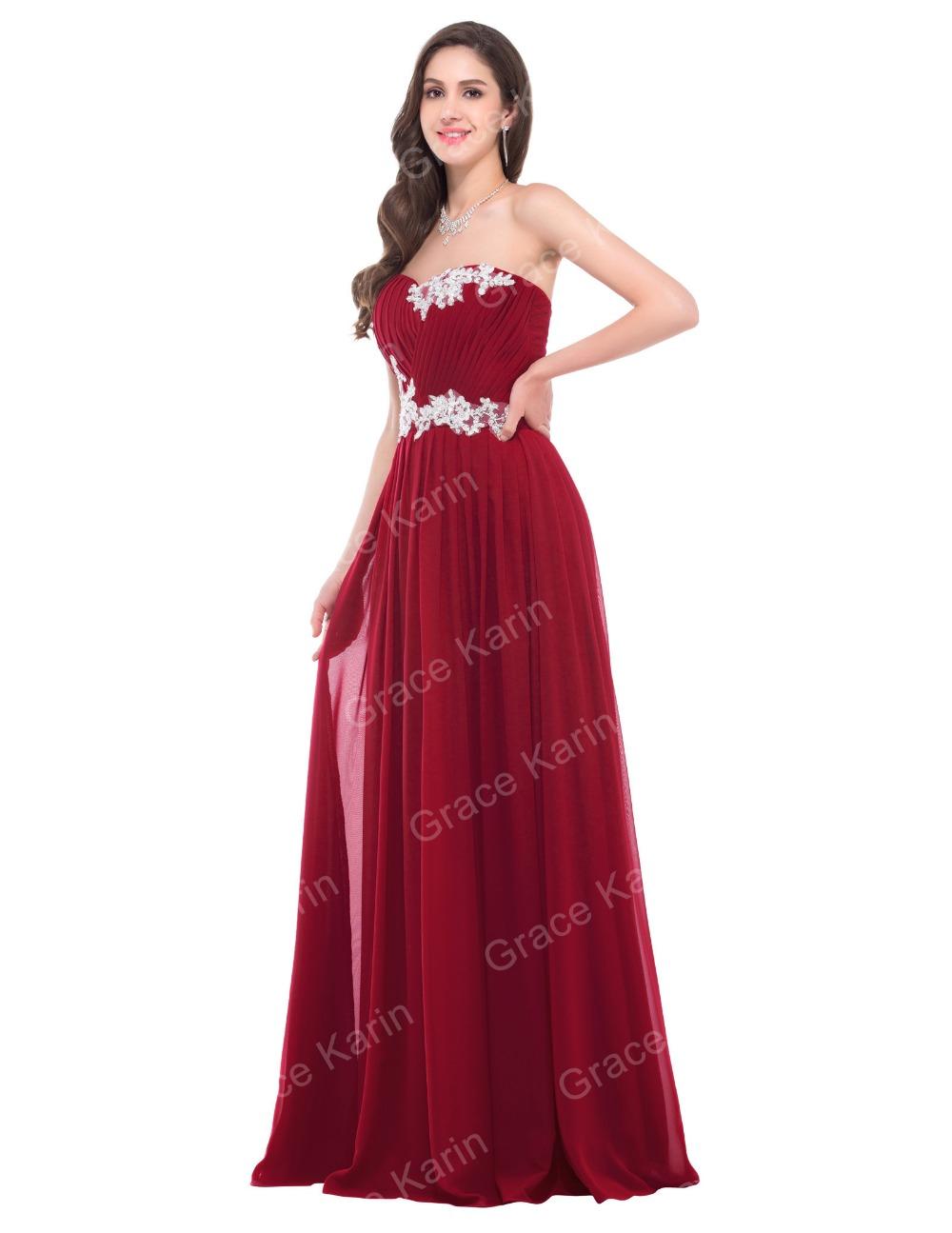 Vestidos de noche en color rojo vino