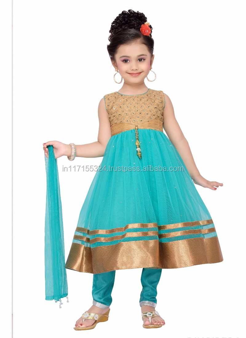 Indian Style Kids Dress Wear Fashion Net Baby Girls Dress - Latest ...