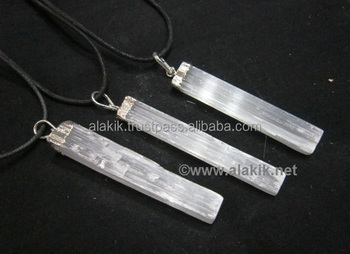 Selenite silver eletropated pendant with cord electropated selenite silver eletropated pendant with cord electropated jewellery supplier aloadofball Gallery