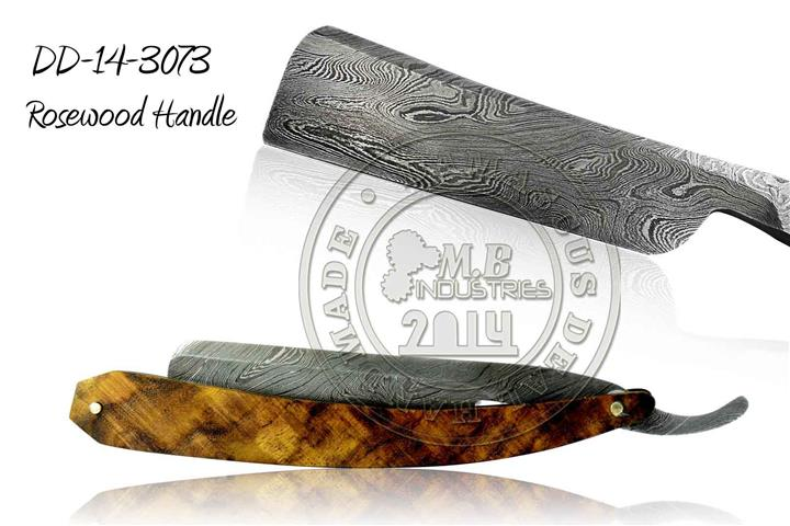 Damascus Steel Straight Razor Rosewood Handle DD-14-3072