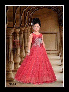 Evening Gown/frock Designs For Kids In Orange Colour - Buy Kids ...
