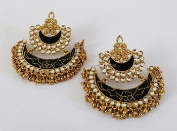 1537797b2 Indian lady kundan earrings Wholesale-Pakistani Bridal Jewelry-Meenakari Chandelier  Earrings-Imitation Pearl