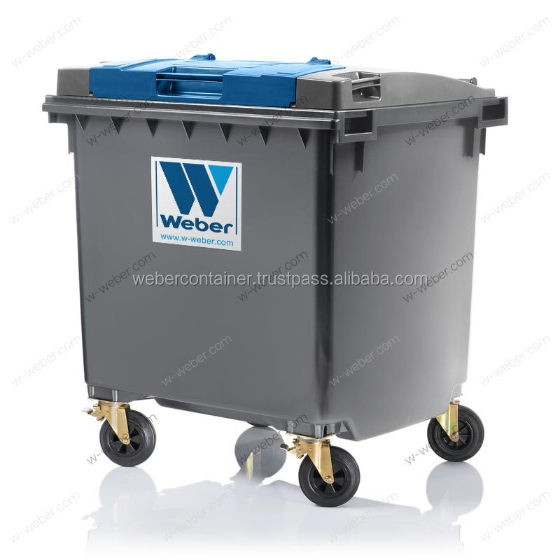 Refuse Collector Waste bin plastic (PE) 1100 ltr. with lid in lid system from manufacturer WEBER