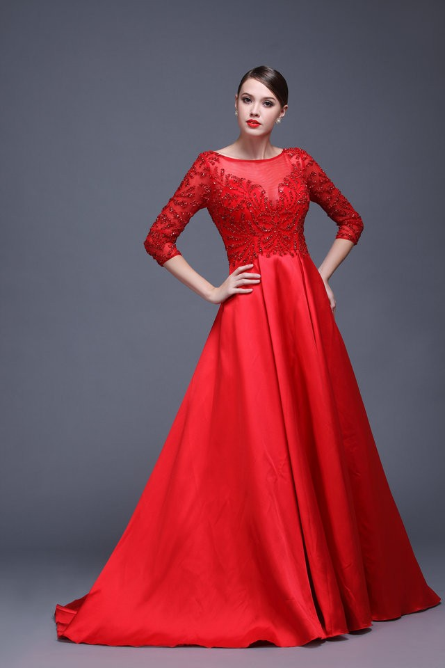 2016 the most sophisticated design elegant long sleeve - Designer red carpet dresses ...