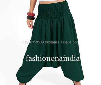 6a2754e2d3 Green Solid Harem Pants