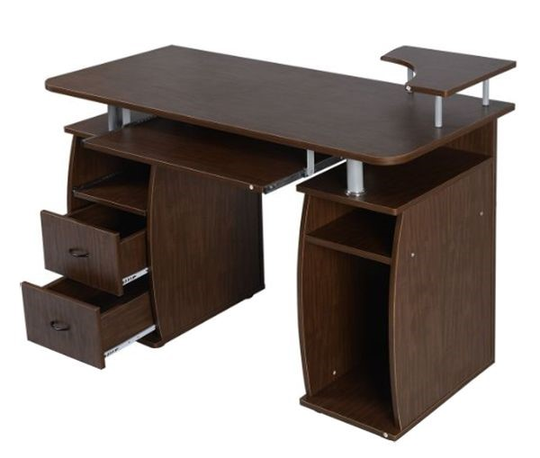 High Quality Wood Furniture Particle Board Desk Computer Desk Table With  Drawers And Shelves Fix Brown