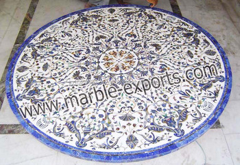 Mother Of Pearl Table Marble Inlaid White Top Round Stone Inlay Dinning Pietra Dura Pietre Dure