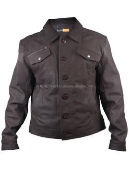 3dd46fc91cf2b 2015 nueva moda zafiro camisa-estilo Brown mens chaqueta de cuero para  hombre