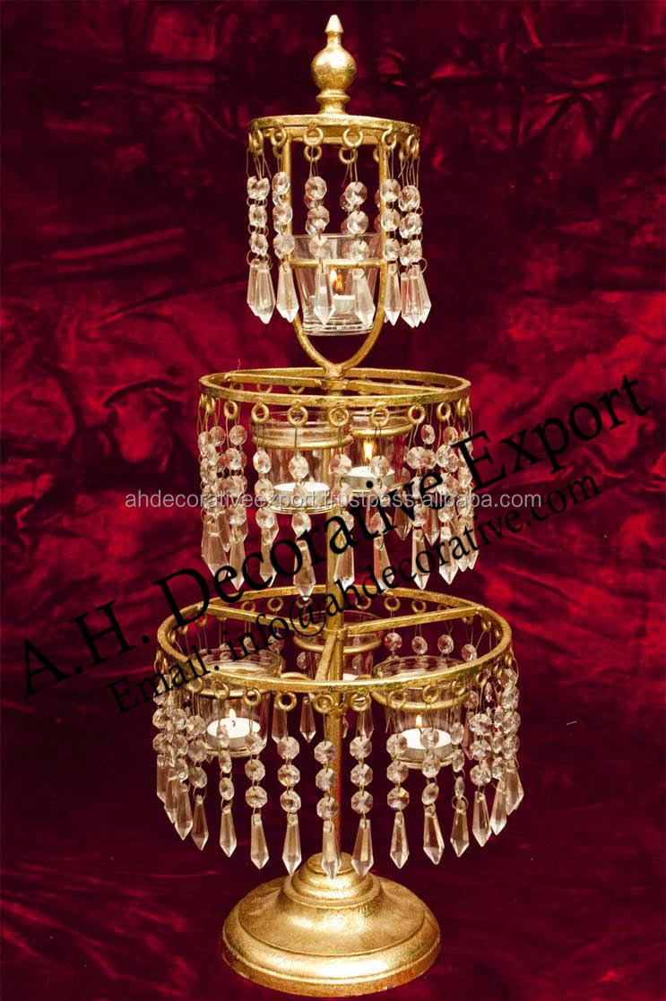 New crystal three tier chandelier centerpiecegold crystal crystal three tier chandelier centerpiece gold crystal centerpiece candle holder arubaitofo Choice Image