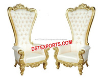 Indian Wedding Bridal Chairs, Silver Brass Metal Chairs Chairs, High Back Carved Chairs