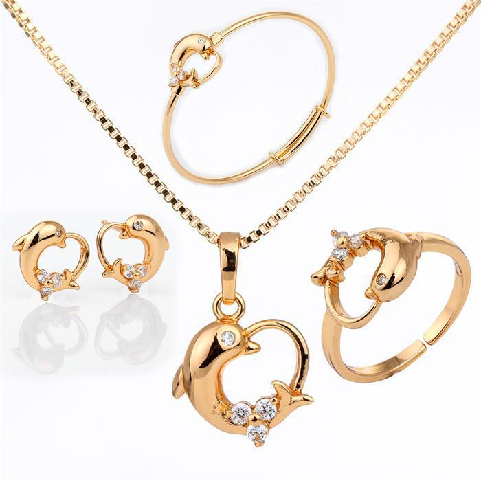 Dolphin Design Gold Necklace Earring Ring Bracelet Gold Jewelry ...