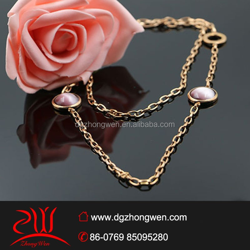 Latest Design Rose Gold Necklace Stainless Steel Long Chain 24k Gold