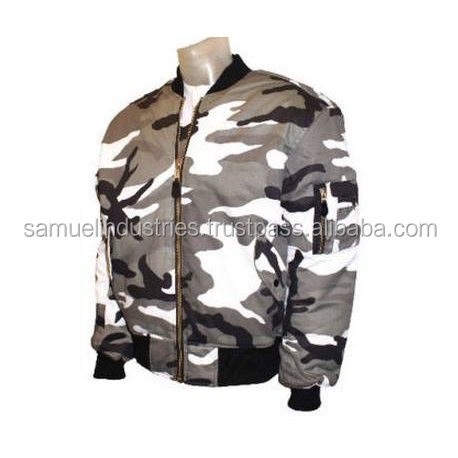Quilted Camouflage Full Zip Bomber Jacket/Multi Colour Army Camouflage Zipper Long Sleeve Bomber Jacket