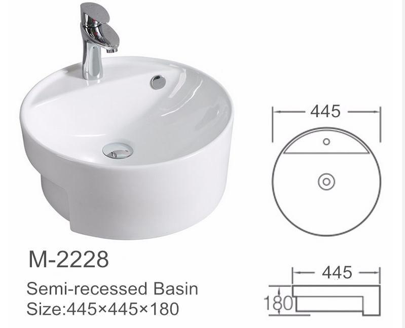 Sanitary ware Semi-Counter round bathroom wash basin