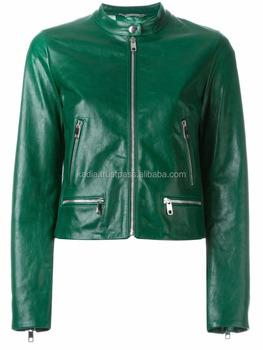 Dark Green Leather Jacket Buy Fashion Women Jacket Pure Leather