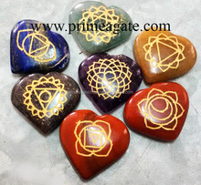 Chakra Engraved Heart Set | Engraved Chakra Stones Therapy Set with velvet pouch From PRIME EXPORTS : KHAMBHAT AGATE : INDIA