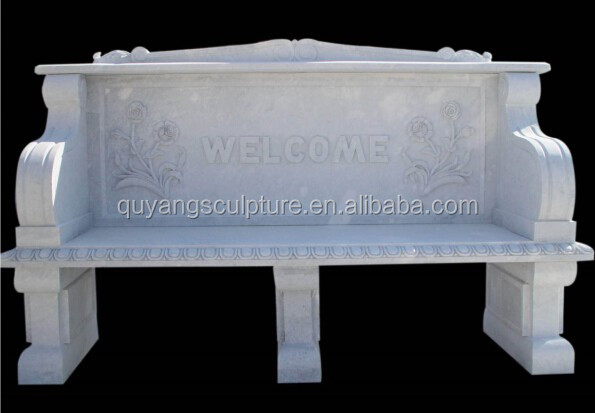 Outdoor Hand Carved Marble Bench