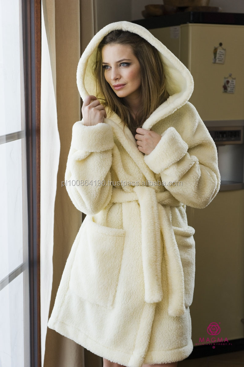 Ladies Dressing Gown 100 Wool Bath Robe Hooded Woolmark