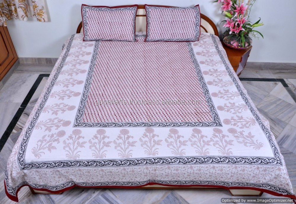 9cf6db3af14 Indian Hand Block Printed Double Bed Sheet With Pillow Covers Handmade Floral  Bed Cover Cotton Bedding