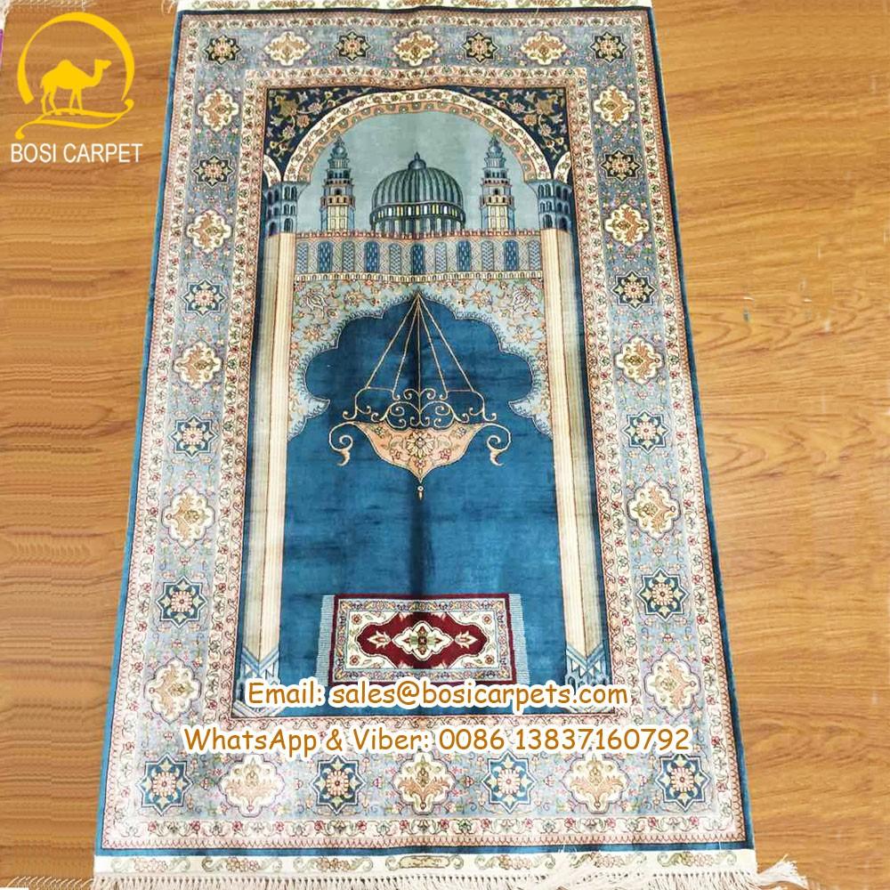 2 8x4 8ft Persian Silk Prayer Rug Carpet Handmade Muslim