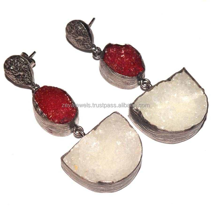 Latest Black Plated Fashion Jewelry Exquisite Natural Sugar Druzy Stone D Shape Earring 2017 Wholesale India