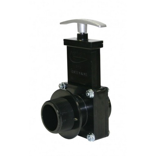 "Valterra 7106M, 1-1/2"" ABS Black MPT x Spigot Ends Gate Valve with Plastic Paddle & Metal Handle"