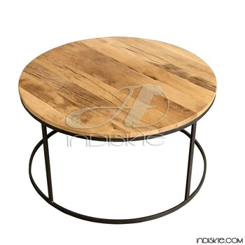 Industrial Vintage Furniture Round Coffee Table, Metal And Wooden Coffee  Table