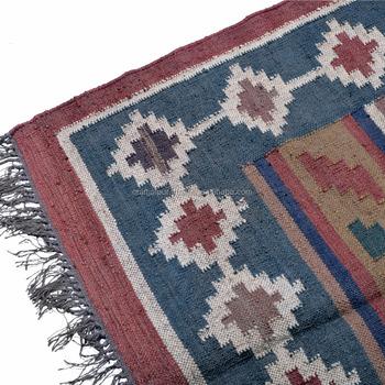 Cjad 24b 4 X 6 Feet Throws Indian Rugs Handmade Wool Jute Dhurrie
