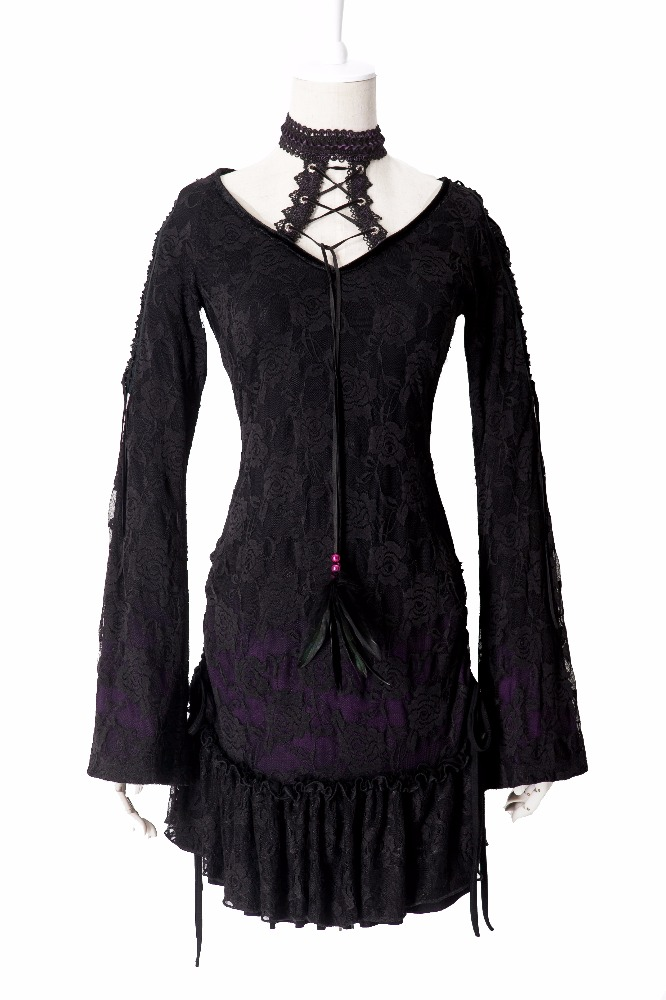 Punk Rave gothic laced tunik dengan removable choker T-300