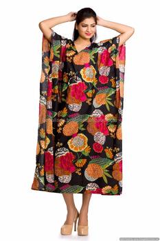 3ee73330bb4 Indian Black Kaftan Ethnic Boho Cotton Handmde Bikini Cover Women Tunic  Long Plus Size Gown Hippie