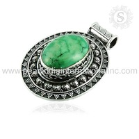 Superlative Turquoise Natural Stone Jewelry 925 Sterling Silver Pendant From Jaipur India