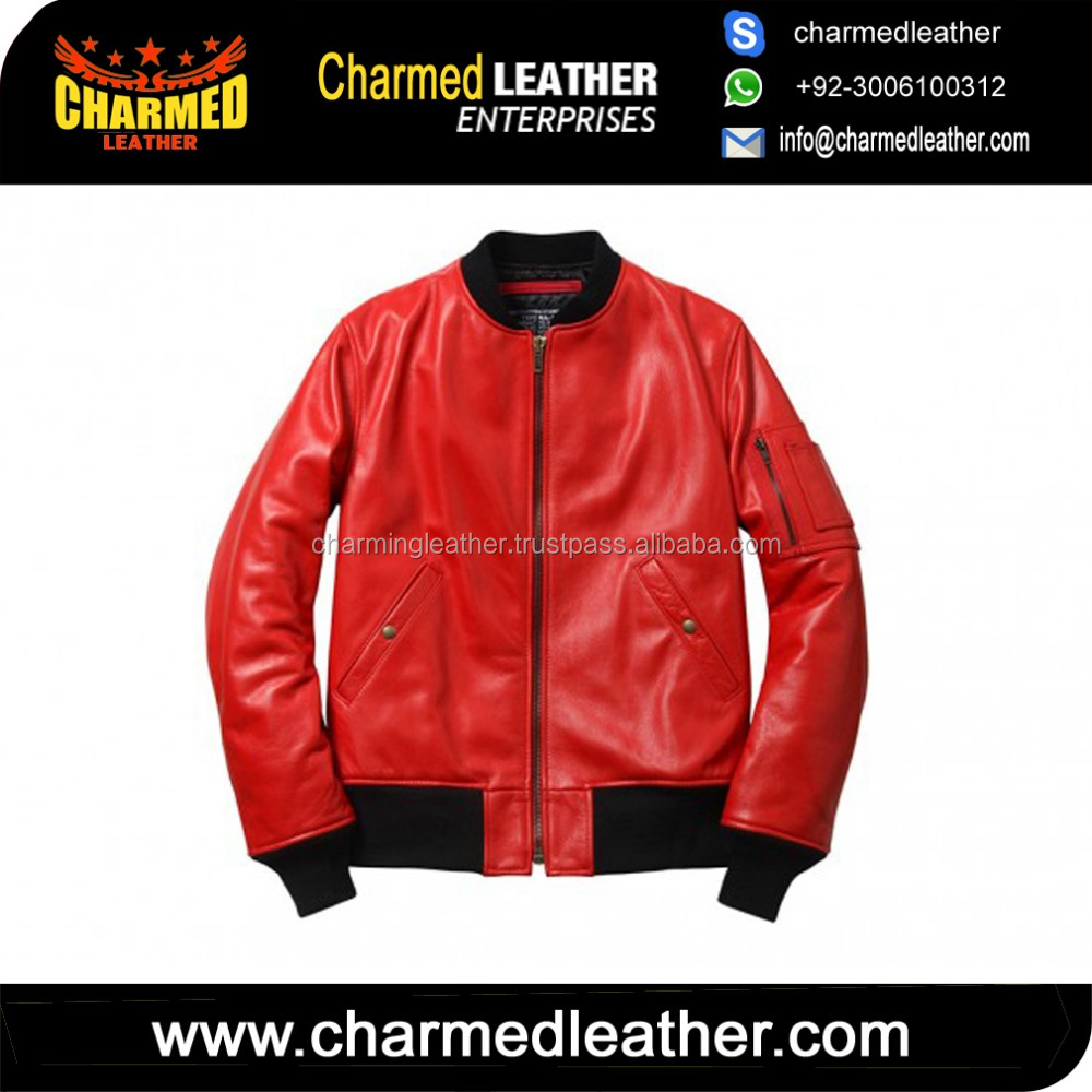 mens Stylish bomber Iconic Real Genuine Sheep Leather Jacket