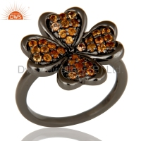Flower Design Handmade Girls Party Wear Ring 925 Silver Rhodium Plated Spessartite Garnet Gemstone Rings Jewelry Manufacturer
