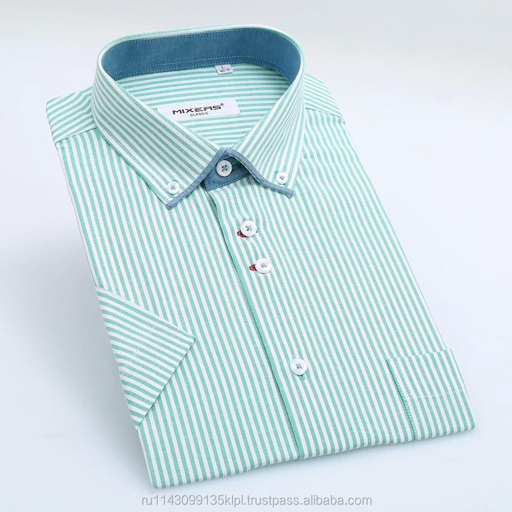 Fashional New Formal Button Down Collar Mens Short Sleeve Stripes