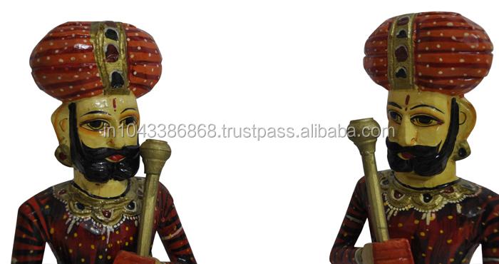 Indian Home Decor Handmade Painted Pair of Wooden Sculpture / Statue of Door Keeper (Darbaan