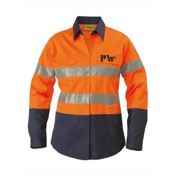 orange and navy two tone work shirts