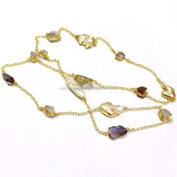 a67eeadf994f6 22 Carat Gold Polish Pearl With Rough Stone Long Chain Endless Necklace  With Thin Chain - Buy Jewelry Necklace,Long Necklace,Endless Necklace  Product ...