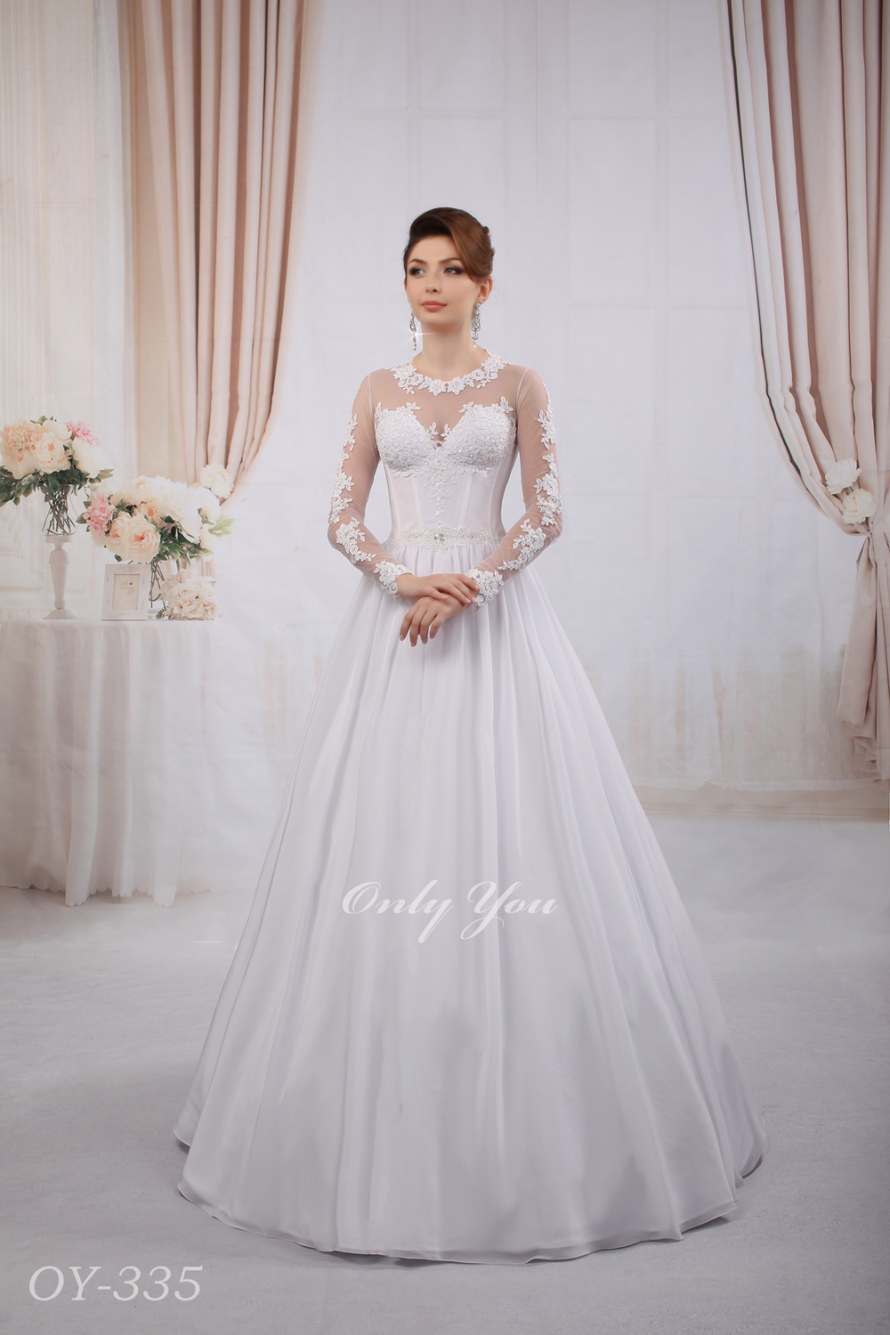 Perfect Wedding Dress Silk Ball Gown Skirt Beaded Lace Closed Back Pearl Ons Long Sleeves Plus