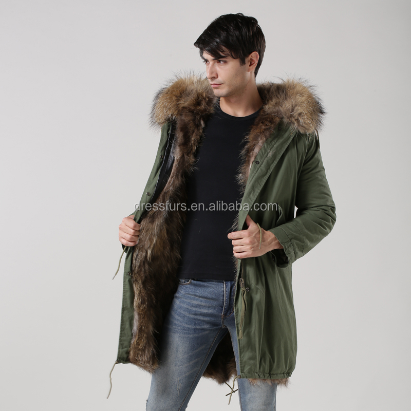 2015 fashion men fur parka with real fox fur lining parka ...