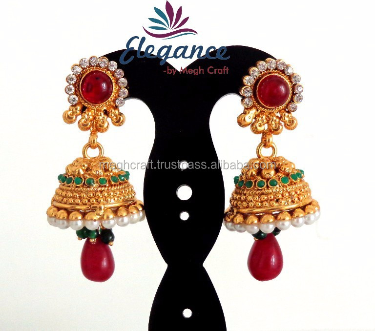 Wholesale South Indian Style Jhumka Earrings-one Gram Gold Jhumka ...