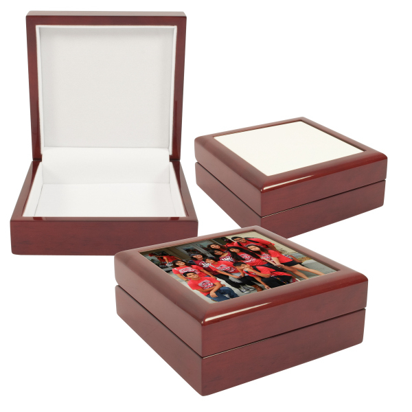 Square Wooden Jewellery Box With Blank 4x4 Quot Sublimation