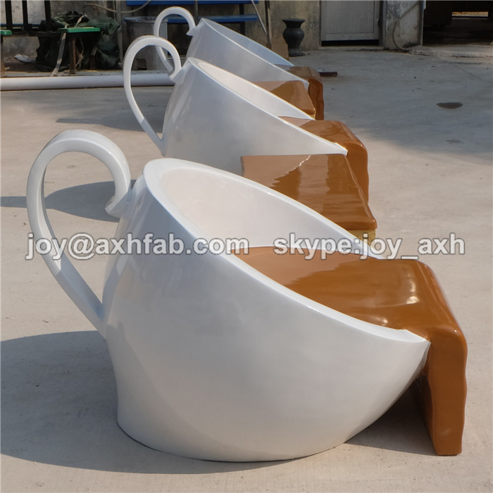 Creative Furniture Fiberglass Table And Chair Coffee Cup