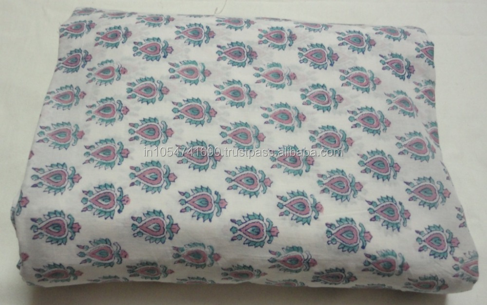 Multi Flower Print Fabric Hand Block Printed Natural Cotton Handmade Running FabricSewing Crafts Fabric Manufacturer India