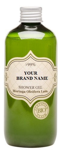 Body Shower Gel With Moringa Oil - 300 ml. Natural Cosmetic Products. Made in EU